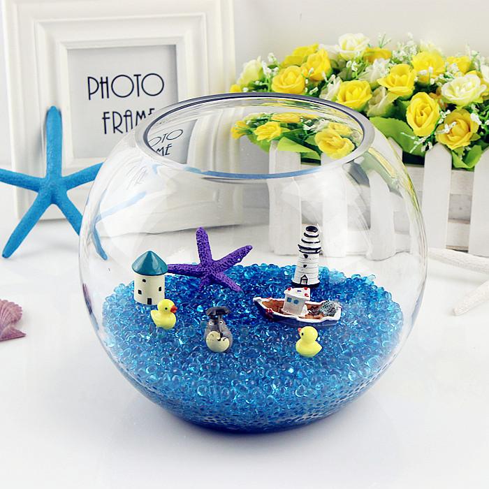 加厚 圆形玻璃金鱼缸 乌龟缸 水培器皿 圆球花瓶 创意桌面小鱼缸