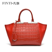 Crocodile pattern solid leather handbag bag bat wings packages a middle-aged ladies star with large bag leather