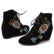 Leather ankle boots with flat bottom increased high lacing boots women short boots national wind in autumn Martin thorn embroidery boots