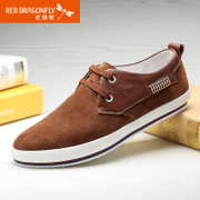Red Dragonfly leather men's shoes, spring 2015 new authentic Korean fashion Scrubs-tie men's shoes