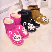 2015 winter Korean version of the new cats eat fish luminous female snow boots warm shoes flat-bottom student short boots women boots