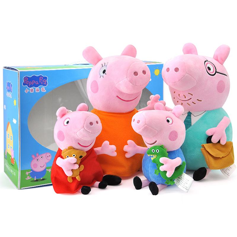 小猪 佩奇 毛绒 玩具 粉红 小妹 公仔 一家 儿童 生日 礼物 礼盒装