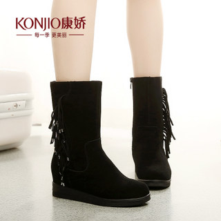 Kang Jiao increased winter boots snow boots flat heel high boots woman Sue leather round caps feet fall/winter products
