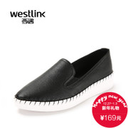 West fall 2015 new leather round nose flat lazy at the end of a deep pedal leisure shoes women's tide
