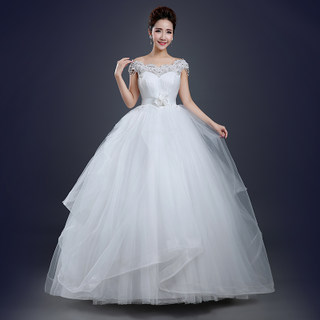 Spring fashion wedding dresses new 2015 together shoulder to shoulder a word bride wedding dresses plus size slimming skinny summer