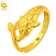 【中国黄金】足金守护海豚活圈女款黄金戒指(计价)