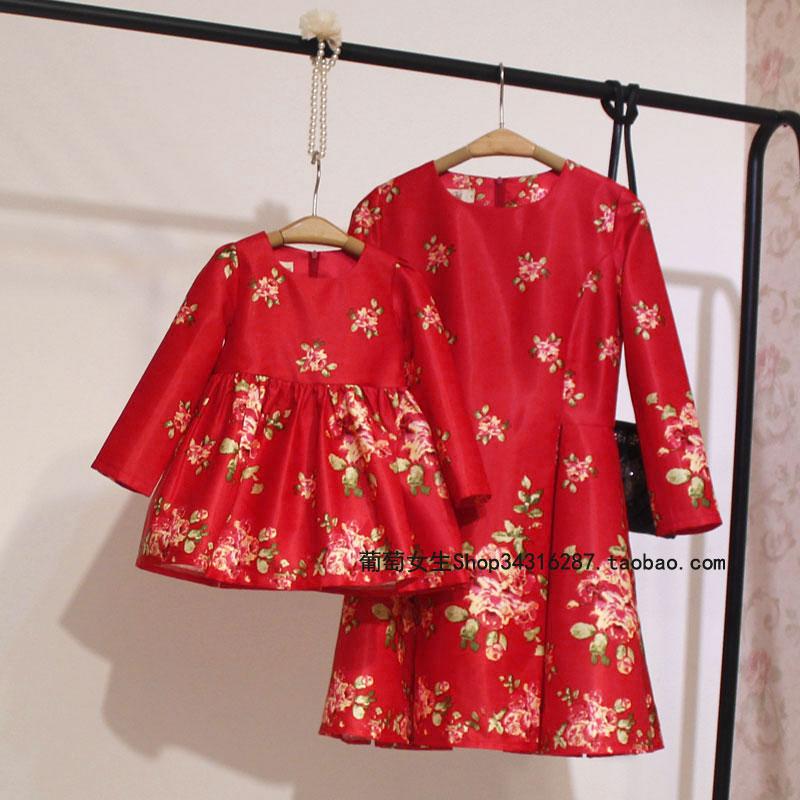 2018新款秋装连衣裙女装有大码亲子装母女时装原创新年款A12红色