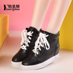 Yi Mei Jiao 2016 increased in spring and summer in the Korean version of the hollow thick-soled shoes, high shoes mesh leisure shoes sports shoes