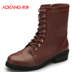 Aokang shoes European trend-zipped casual women's boots leather soft round head with strap boots