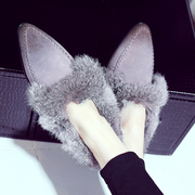 Strange love of leather shoes snow winter warm shoes tipped with real rabbit fur shoes asakuchi with flat shoes