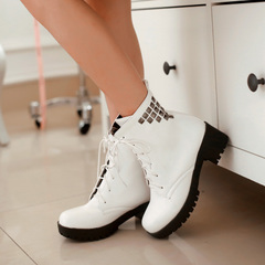 2015 new autumn and winter streets Martin boots waterproof lace boot round head with heavy boots with rivet female students Chao
