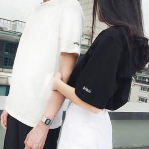 女装情侣装上衣服2018夏新款潮字母ulzzang短袖t恤女学生百搭半袖