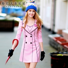 Long sleeve dress pink doll 2015 autumn tides European self-a-suit-style print dress