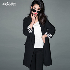 Seven rattles OTHERMIX2015 new letter printed in the spring roll-sleeve black long Jacket Women