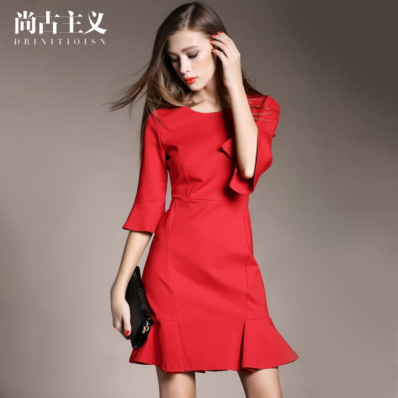 尚古主义欧美女装红色包臀中裙2015新款秋装荷叶裙五分袖连衣裙