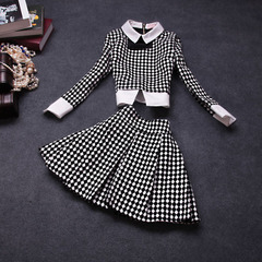 2015 spring new Western Plaid dresses, ladylike two-piece suits #