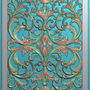 欧式173洋花欧式门花贴花精雕图木雕图浮雕图灰度图