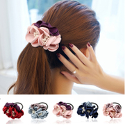 Colorful grid (accessory) simulation flower hair clip hairpin hair accessories Korean aesthetic tiara ring F0131