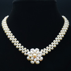 特泊儿 淡水珍珠项链 多层白色珍珠项链近圆强光 女款 送证书