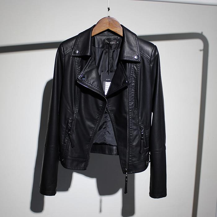 潮品女装翻领时尚短款皮夹克女2021秋装新款修身显瘦长袖皮衣外套