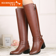 Winter new authentic red Dragonfly women's boots leather women shoes fashion casual top with thick warm shoes