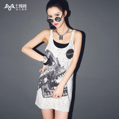 Summer of seven space space OTHERCRAZY2015 new model skulls print sundresses for loose sleeveless dress