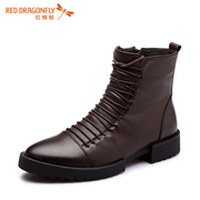 Red Dragonfly genuine leather short boots fall/winter new fashion casual trend of Korean short tube men boots shoes