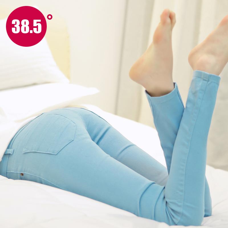 秋鼕新款韓版糖果色鉛筆褲白色彈力牛仔褲女小腳女褲子大碼棉