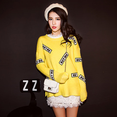 QUEENZZ socialite winds fall/winter 2014 under a new split in Europe and America flocked fun BUYME letter sweater #