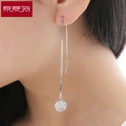 New year wild temperament tassels tramline female Japanese and Korean long simple gift 925 Silver jewelry earrings are hypoallergenic