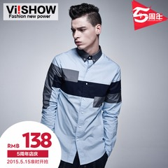 Viishow2015 spring and autumn new shirts boys long sleeve slim Korean code stitching shirts casual menswear