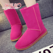 2015 winter new cylinder flat head suede snow boots warm winter shoes women waterproof slip resistant shoes