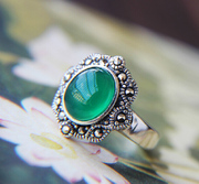 Silver 925 hung Thai silver inlaid turquoise ring vintage natural old silversmiths hand index finger agate ring