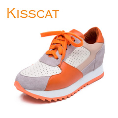 KISSCAT round head kissing cat 2015 new fashion mosaic Scrubs deep flat shoes sports shoes