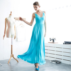 Elegant blue straps strapless modal v-neck long skirts high waist sexy dresses with big European summer 9117