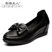 Spring 2016 new bows MOM and old leather soft shoes shoes with non-slip high women's shoe