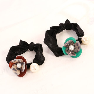 Know Connie hair Korea play first string acrylic flower Pearl flower head band hair rope accessories