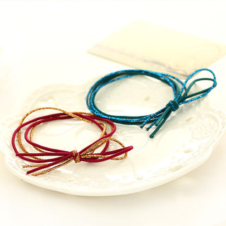 Know Connie hair accessories Korean version of the colorful Butterfly stretch first coil multi-layer bi-color hand-knotted rope elastic hair band
