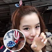 Know Richie Korean tiara hair accessories Korean rabbit ears hair clip bows and stripes fringe rope ring string