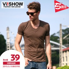 Summer new style slim men short sleeve t shirt viishow2014 men's summer tide v neck t-shirt
