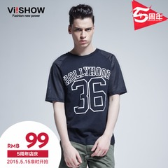 Viishow2015 summer dress new style short sleeve t-shirt in Europe and easing the digital logo short sleeve t shirt mens black t