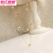 Genuine pink Empress jewelry multilayer clothing accessories handmade Crystal beads long necklace sweater chain pendant