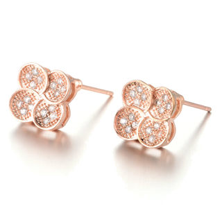 Good Stud female four-leaf clovers of Auricular acupuncture zircon ear Korean fashion jewelry heart-wild earrings-mail