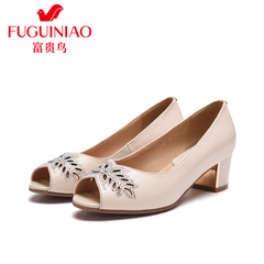 Rich bird spring 2016 designer shoes real leather thick with sweet sexy peep toes shoes woman heel women shoes