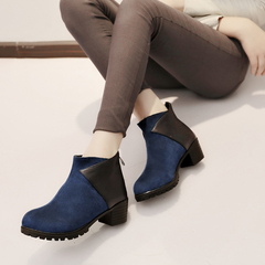 Fall and winter color mosaic short boots women zipper head after crude in Europe and with women's shoes women's boots Scrubs and naked short tube boots