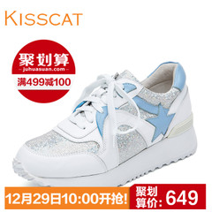 KISS CAT/Kiss cat casual sneaker leather fashion Flash platform shoes D55784-02SC