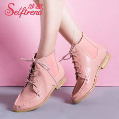 Interest elastic band sewing involved pointed lace boots booties women's boots T05021
