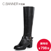 C.BANNER/for thousands of new 2015 winter cow leather buckle long boots A5776005