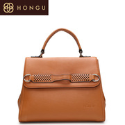Honggu red Valley handbag counter genuine leather belt Brown complex nostalgia old Zip Crossbody handbag 1069