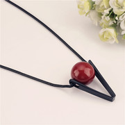 Better Europe and exaggerated red bead long necklace triangle with female jewelry necklace pendant necklace bag-mail